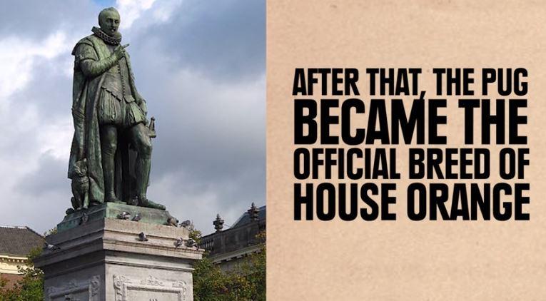 price william of house of orange  with pug statue