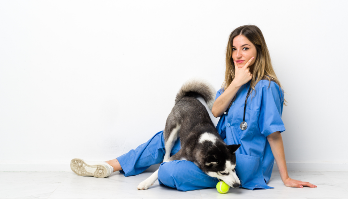 Nurse with a Husky